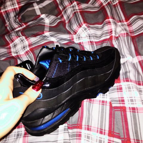 a7c275c26f Nike air max 95 in size 4 blue and black. Got these as a and - Depop