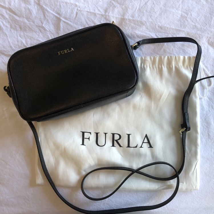 best sell shades of well known FURLA Lilli Double Zip Crossbody Bag. Black Saffiano ...