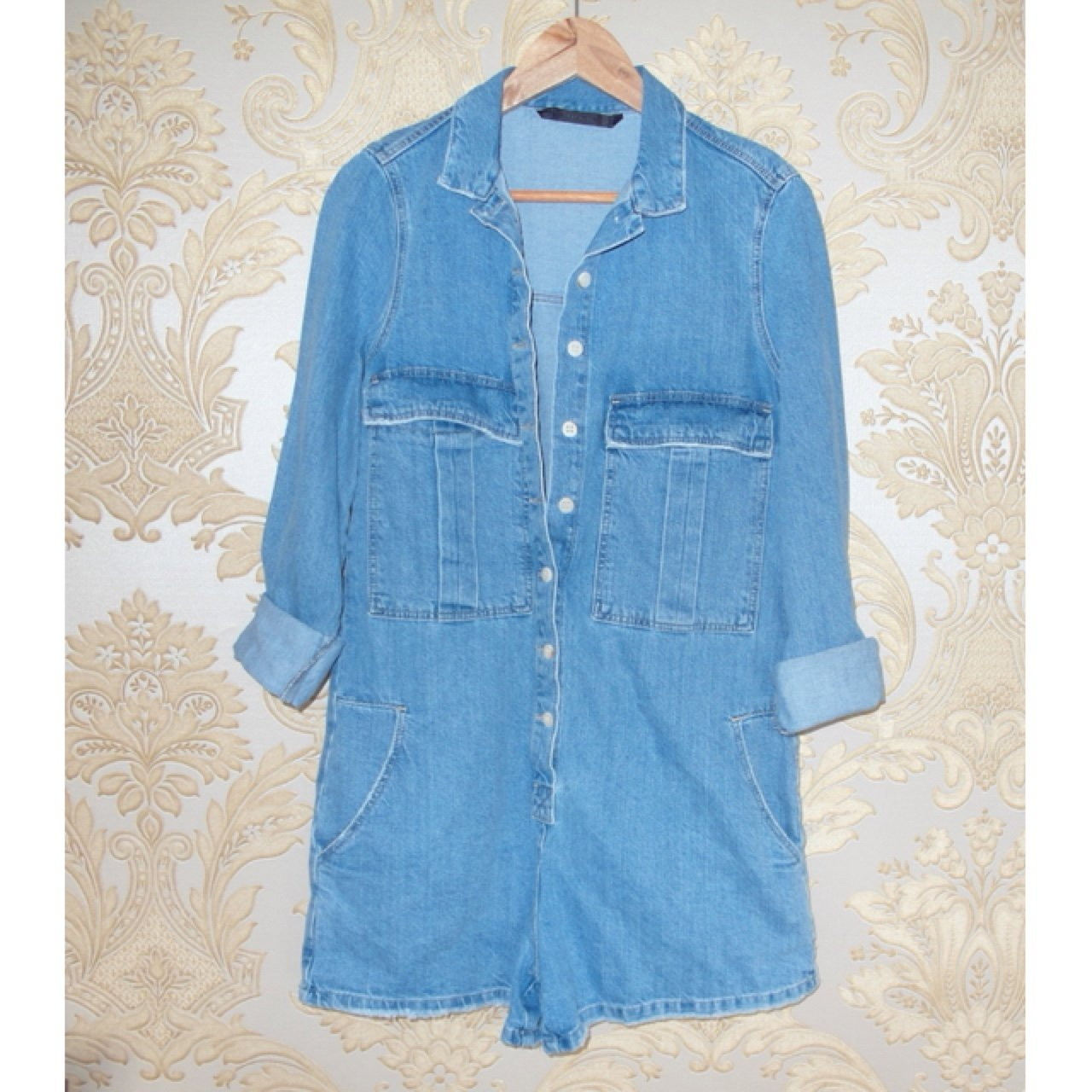 61292d70f7 Sold out Zara denim overall playsuit   jumpsuit. Size S 8 10 - Depop
