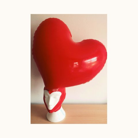 Red Rubber Inflatable Latex Heart Hood Sample Will Fit Small   Depop