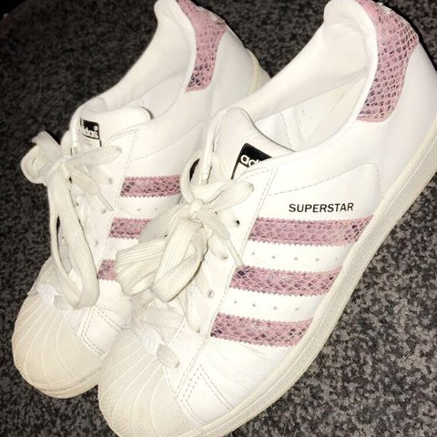 on sale 09a6b 272df  jemmahiggins20. last year. Wigan, United Kingdom. Genuine Original adidas  superstars. White and pink snake skin