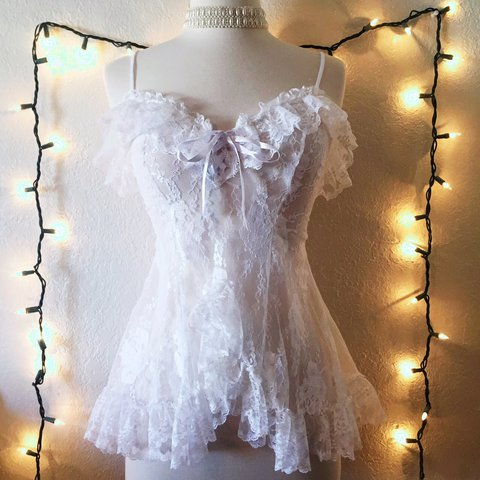 ebf7fb098a9 Angelic lacy sheer vintage lingerie top! So romantic and tie - Depop