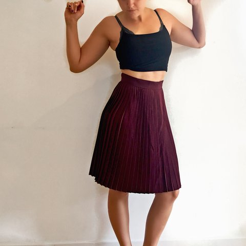 58016d63fab5 @meg_k_w. 8 months ago. London, United Kingdom. Burgundy Pleated Midi Skirt  with concealed zip at back ...