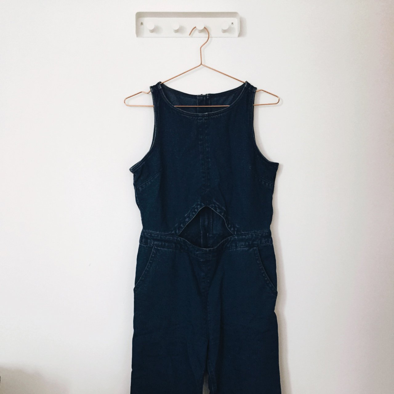 c9d35ae9b7e4 Cut out denim jumpsuit with flared bottoms. Perfect - Depop