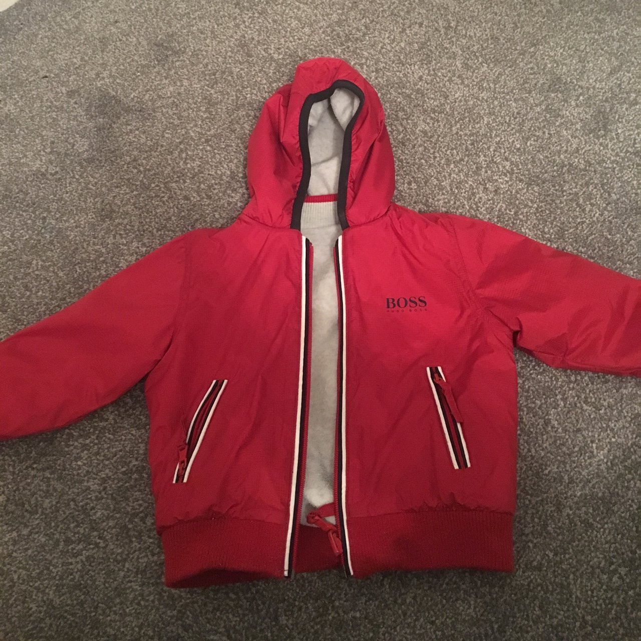 66fb0e81a4e Genuine Hugo boss red coat/jacket age 18 months great on the - Depop