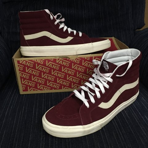 Vans suede maroon sk8 hi size 12 worn once 9 10 w  box and - Depop 2a0e6077e
