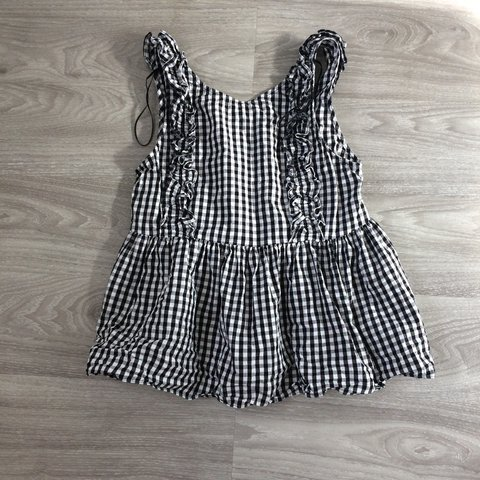 2822449896b37 Zara gingham black and white check ruffle button top. Size - Depop