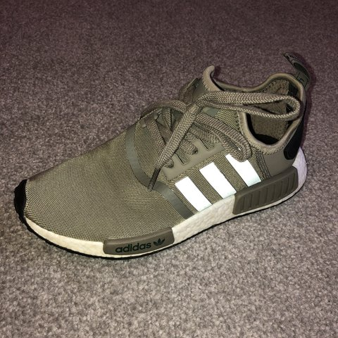 462ba8074 Khaki Adidas NMD trainers. Bought for £140 and only worn a - Depop