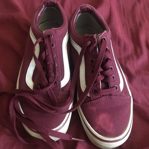 9636f91963 Burgundy vans. Worn a few times. Spilt bleach on one of the - Depop