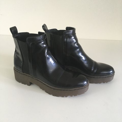 6f34c8d65d00 Zara patent black chelsea boots. They have a few minor and - Depop