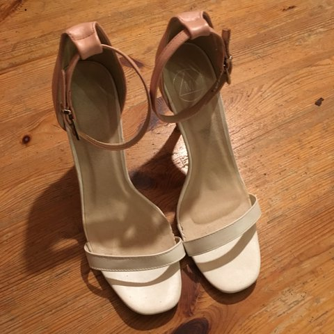 a3b95c13a5d Missguided nude and white heels. Worn once! Scratch down of - Depop