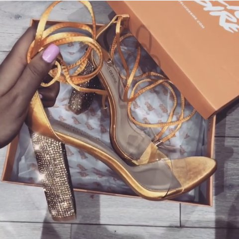 da469753c3 FATALE DIAMANTE PERSPEX LACE UP HEELS IN GOLD YELLOW SATIN - Depop