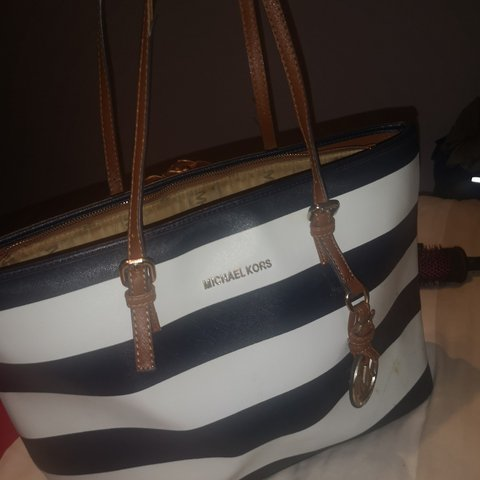 cb642a8b4b4d @becklbow. 4 months ago. Liverpool, Merseyside, United Kingdom. MK beach bag  in navy and white stripe and tan handles. Worn ...
