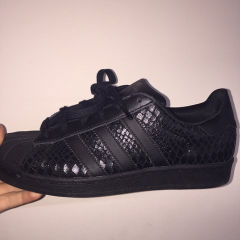 100% authentic fd8d2 0ff29  charliepinnell. 3 years ago. Bath, UK. All black snake skin effect adidas  superstars ...