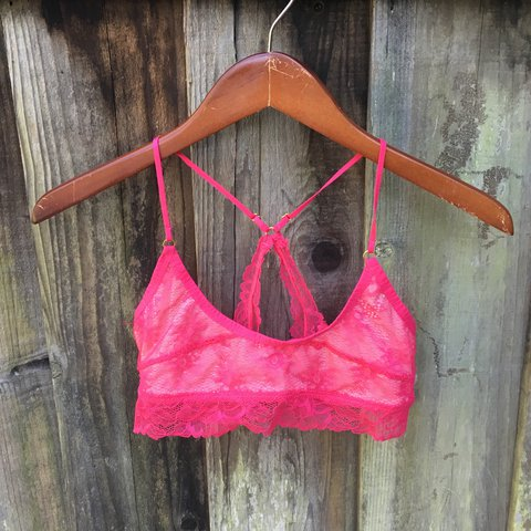 cbf02287163ade Hot pink lace bralette with matching removable off the lace - Depop