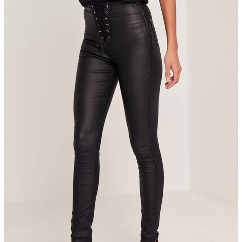 62088699 @mellyharper. 2 years ago. London, United Kingdom. Missguided black vice high  waisted coated lace front skinny jeans