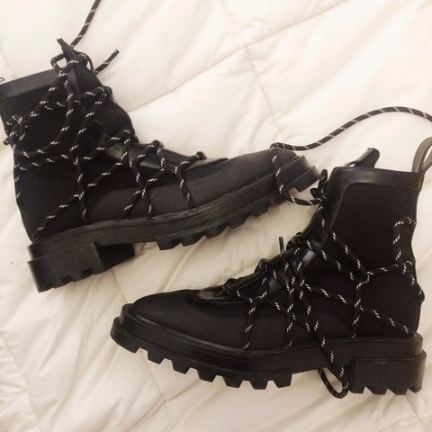 f84833d13c ZARA (new collection) combat boots / never used / size 38 EU - Depop