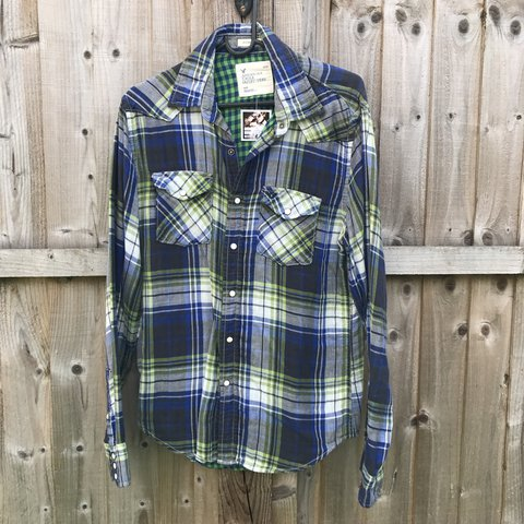 57ffdded American Eagle Western shirt checked flannel. Flannel with & - Depop