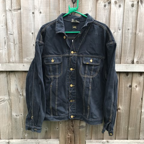 c6d5ba1f5ef Vintage Lee Denim jacket . Vintage Dark grey with orange fit - Depop