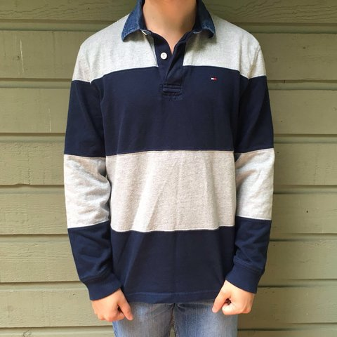 2c6cc2294 @thedeadpresidents. 3 years ago. Leeds, UK. Tommy Hilfiger long sleeved /  sleeve rugby shirt with navy blue and grey stripes. Size Mens Large ...