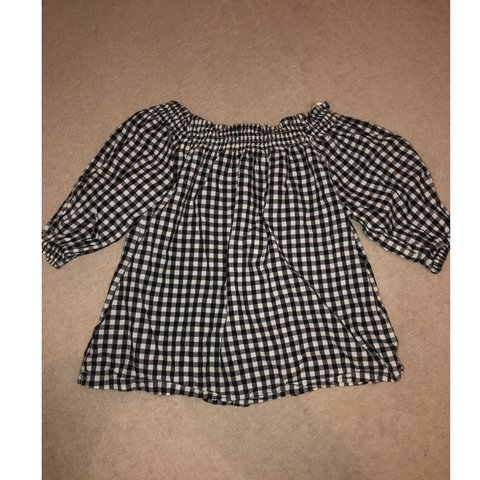 06d0bb98c6 Black and white off the shoulder gingham top. Only worn once - Depop