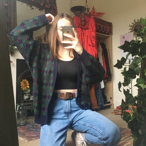 17a4e8c0986863 urban outfitters vintage style oversized chunky knit vintage - Depop