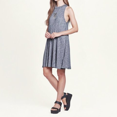 7b75696fef47 @jxda. 2 years ago. Ocala, United States. Hollister Grey Ribbed Mock Neck  Swing Dress