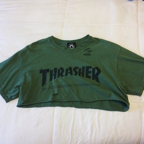 f7f8fe406c6f Green Thrasher Handmade Crop Top Cut the shirt myself and M - Depop