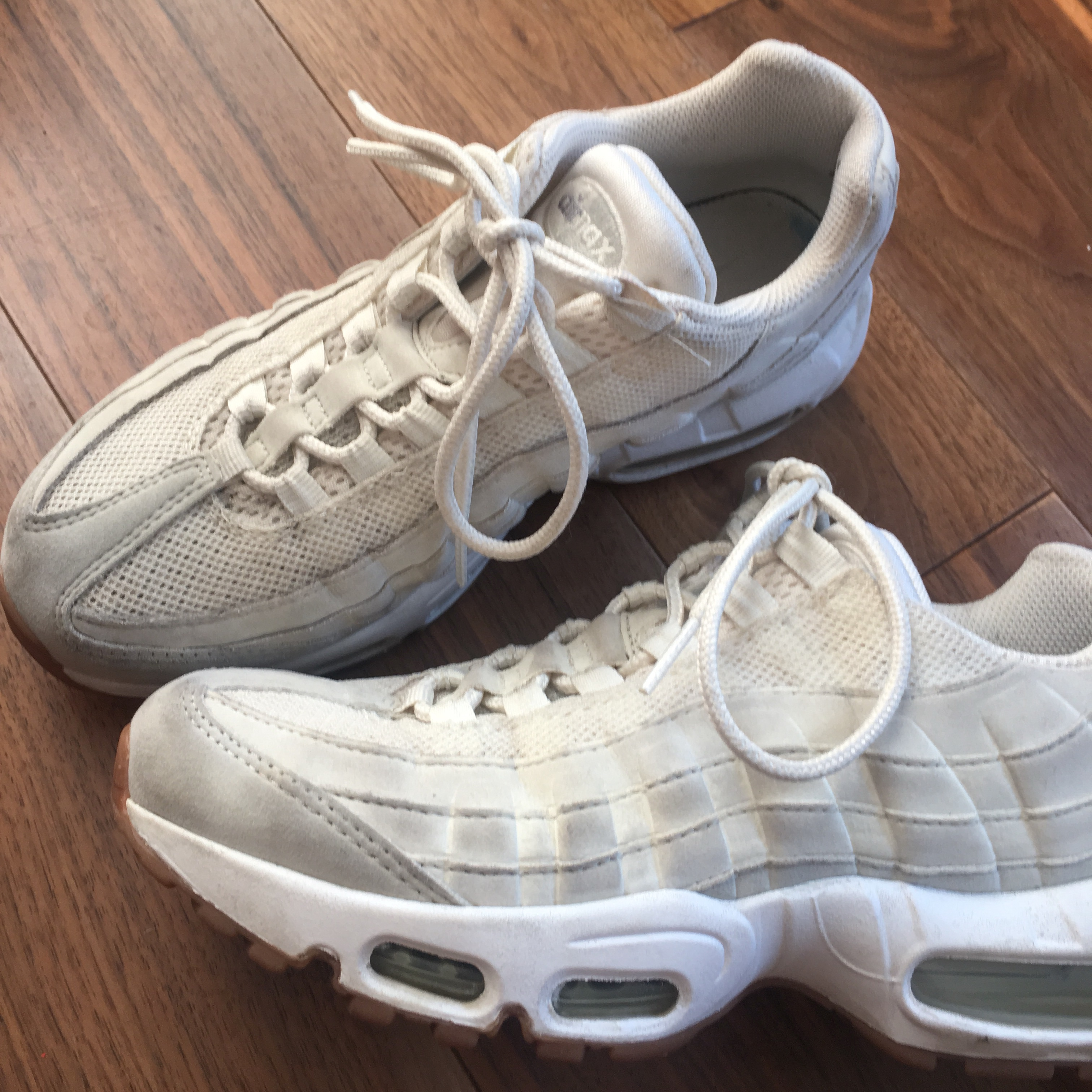 check out c8d98 272d1 Cream and white Nike Air Max 95s with gum sole, size... - Depop