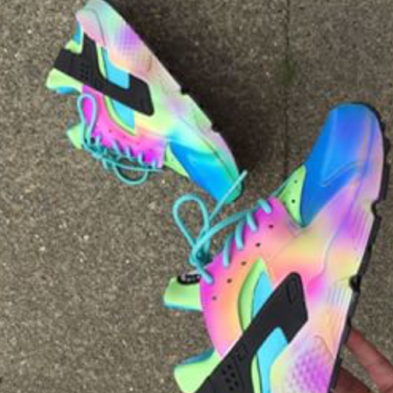best cheap 2185c 14919 Air brush rainbow huaraches mine and don't fit sell... - Depop