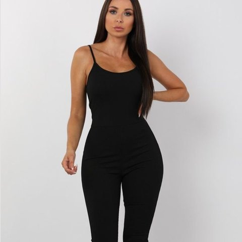 856aeda00d5a 💕Femme luxe black ribbed jumpsuit 💖Size 6 Never worn no - Depop