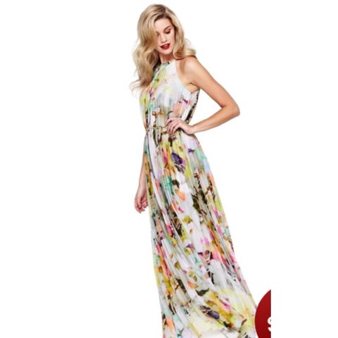 2aa4f4d89e67a Ted Baker maxi dress worn once to the races size 4 14 in to - Depop