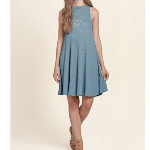 fcd60a154a2d @felinaxo. 9 months ago. San Antonio, United States. Hollister Blue Ribbed  Mock Neck Swing Dress ...
