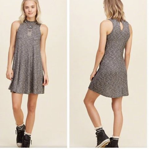 7750e036456d @felinaxo. last year. San Antonio, United States. Hollister Grey Ribbed  Mock Neck Swing Dress ...