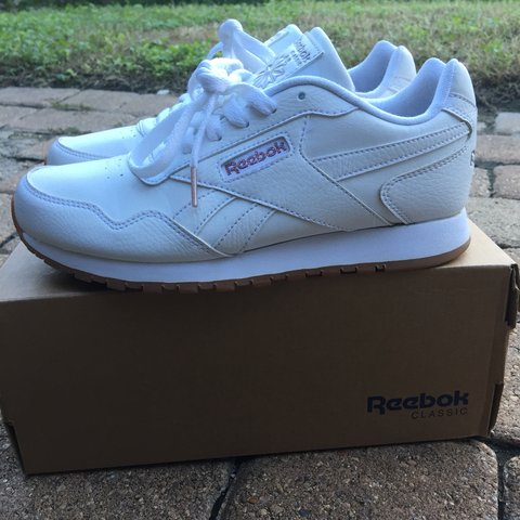 65188b7164f Super icy white Reebok s with rose gold accents and gum 7 a - Depop