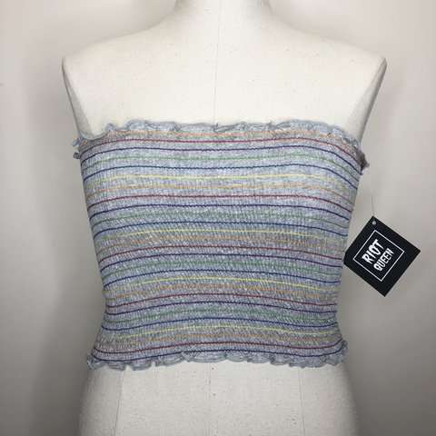 6f8fdfab38 Rainbow Shirred Grey Tube Top NWT Brand  Riot Queen Size  - Depop