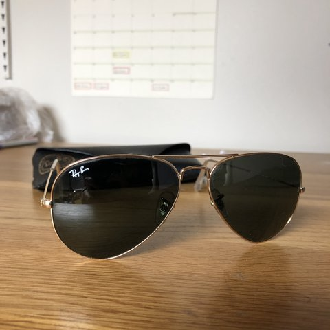 d86ae77cf8 Genuine ray ban aviators. Gold frame and green classic of in - Depop