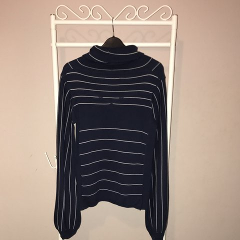 5bca37668c57ac Navy and White Striped Levi's Jumper with slight puff and S. - Depop