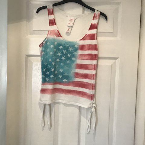 f2d6372f899f Bershka, United States flag top, with tie knot detail on the - Depop