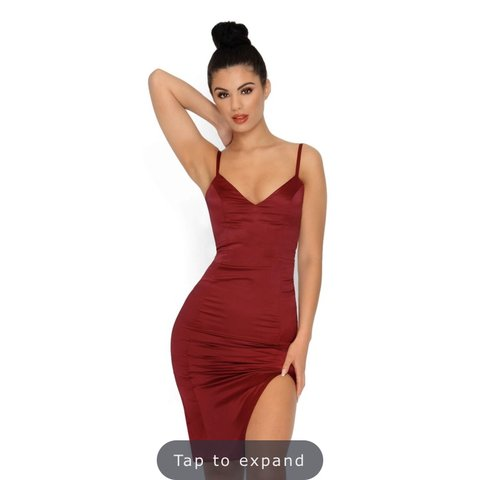 67b1e1f5efd OH POLLY don t take sides thigh split satin mini dress in UK - Depop
