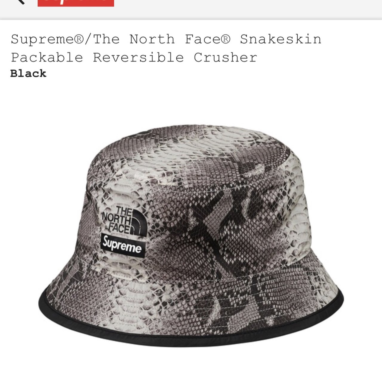 Supreme x the north face black snakeskin bucket hat. £70. no - Depop 7f4a1edc773