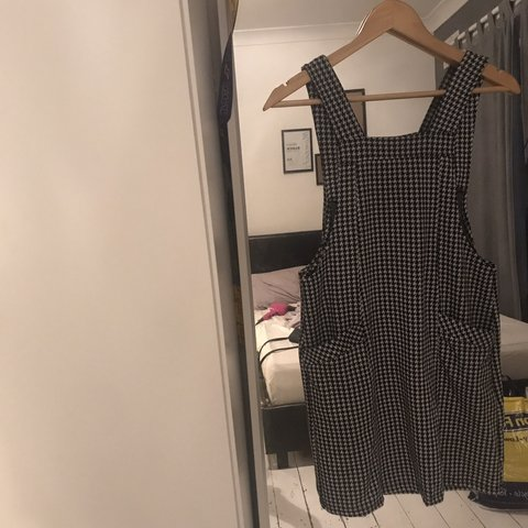 61addc6e Dogtooth pinafore with pockets 💓 never worn , fits a size - Depop