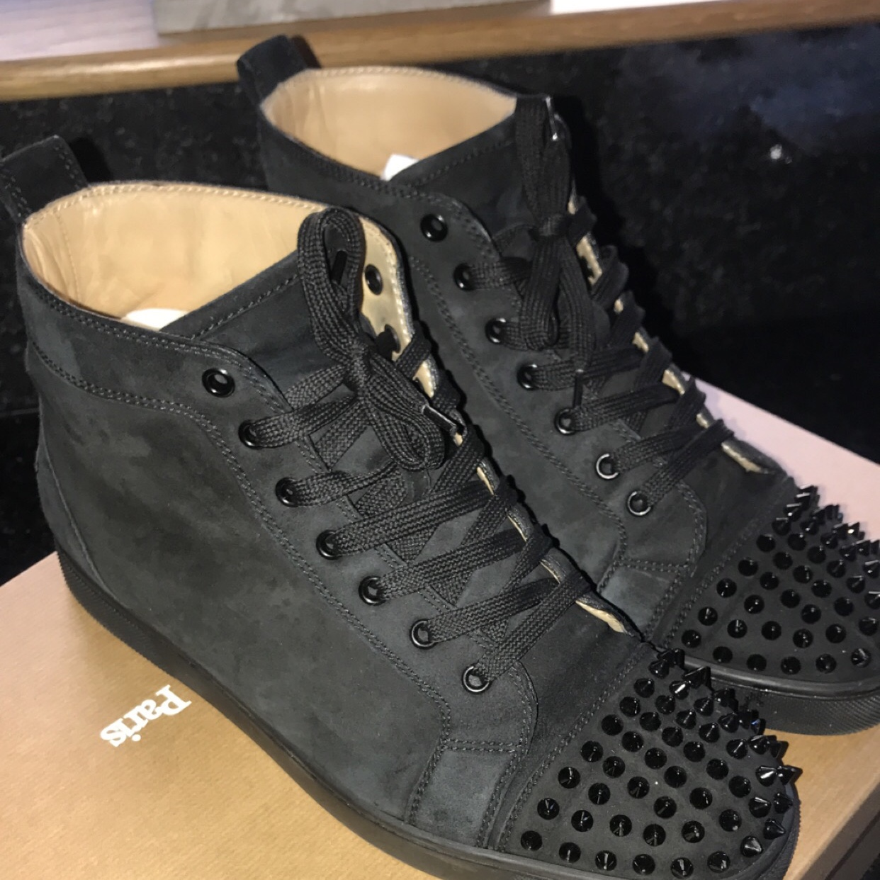 big sale 54584 f0213 Genuine Christian louboutin mens Black suede high... - Depop