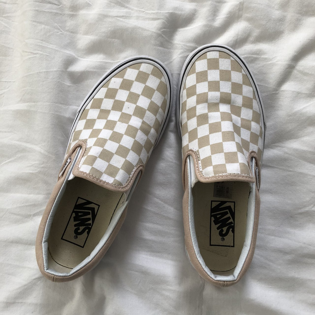 Vans Nude Checkered Slip Ons Classic