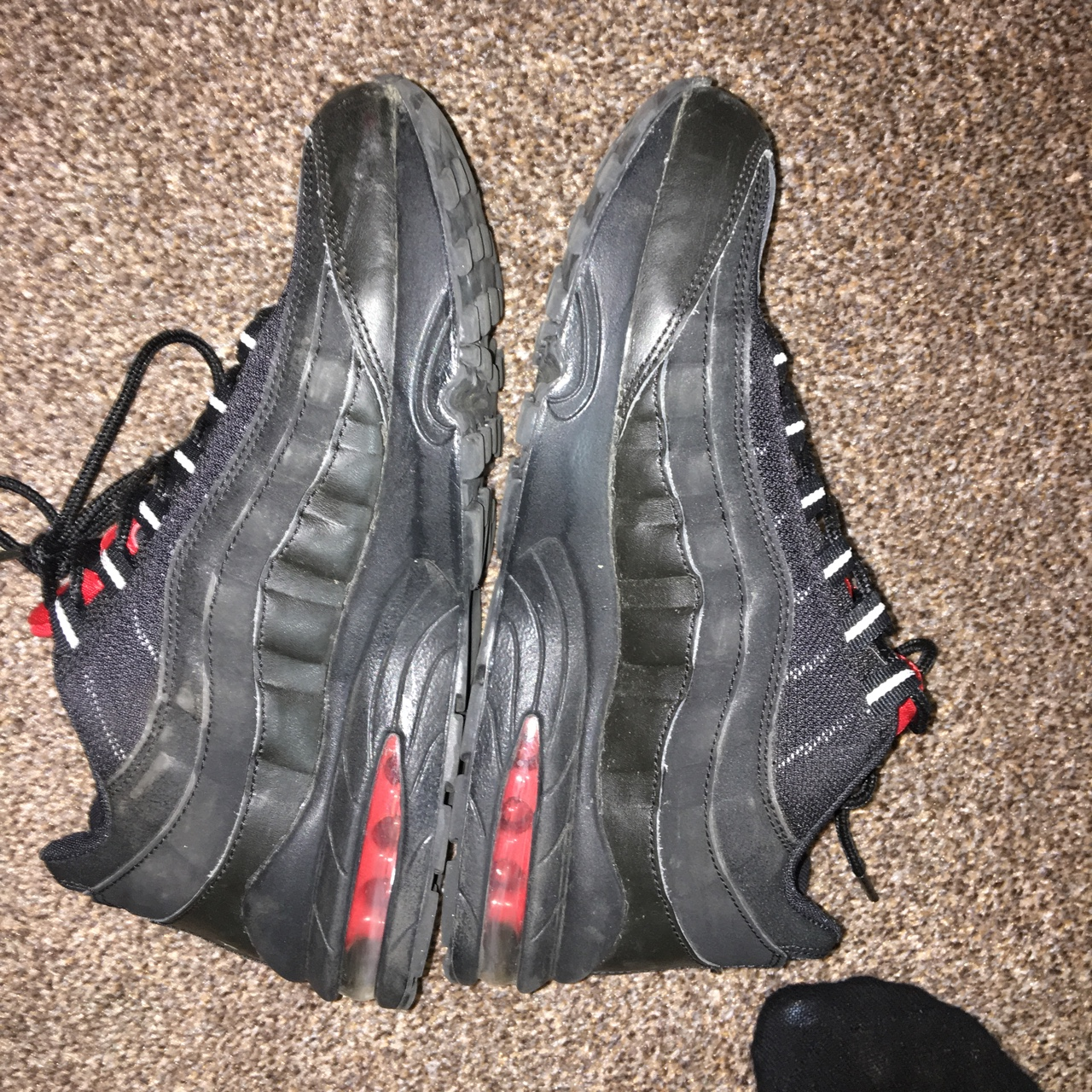 Nike AirMax 95 Black and red with reflective lace Depop