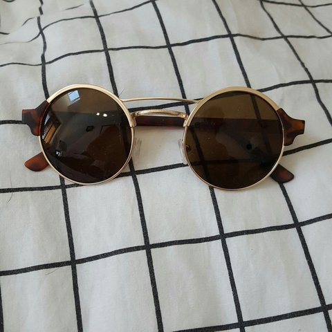 a96238a28 REDUCED Aj morgan sunglasses from asos Round with gold rim - Depop