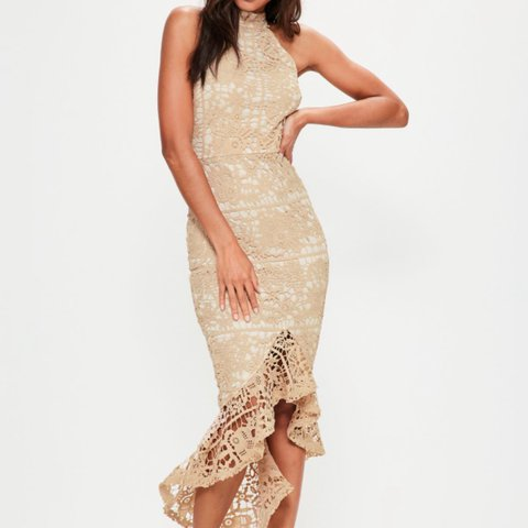 657c397bd322 @karaappleyard. 2 years ago. Alsager, United Kingdom. Nude lace high neck  fishtail midi dress. From misguided