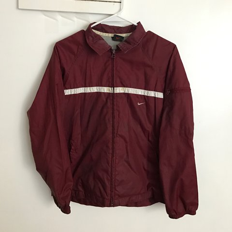2a9357413e Nike burgundy windbreaker. Vintage and has stains on the i m - Depop