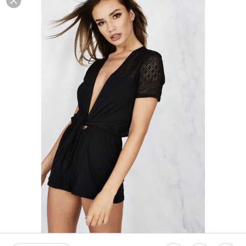 8120e3da16 Hotmess black tie up playsuit worn twice on holiday Size - Depop