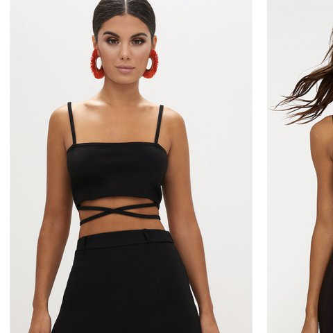 cc0a46a3586db0 Black strappy crop top from pretty little thing♥ Size 6